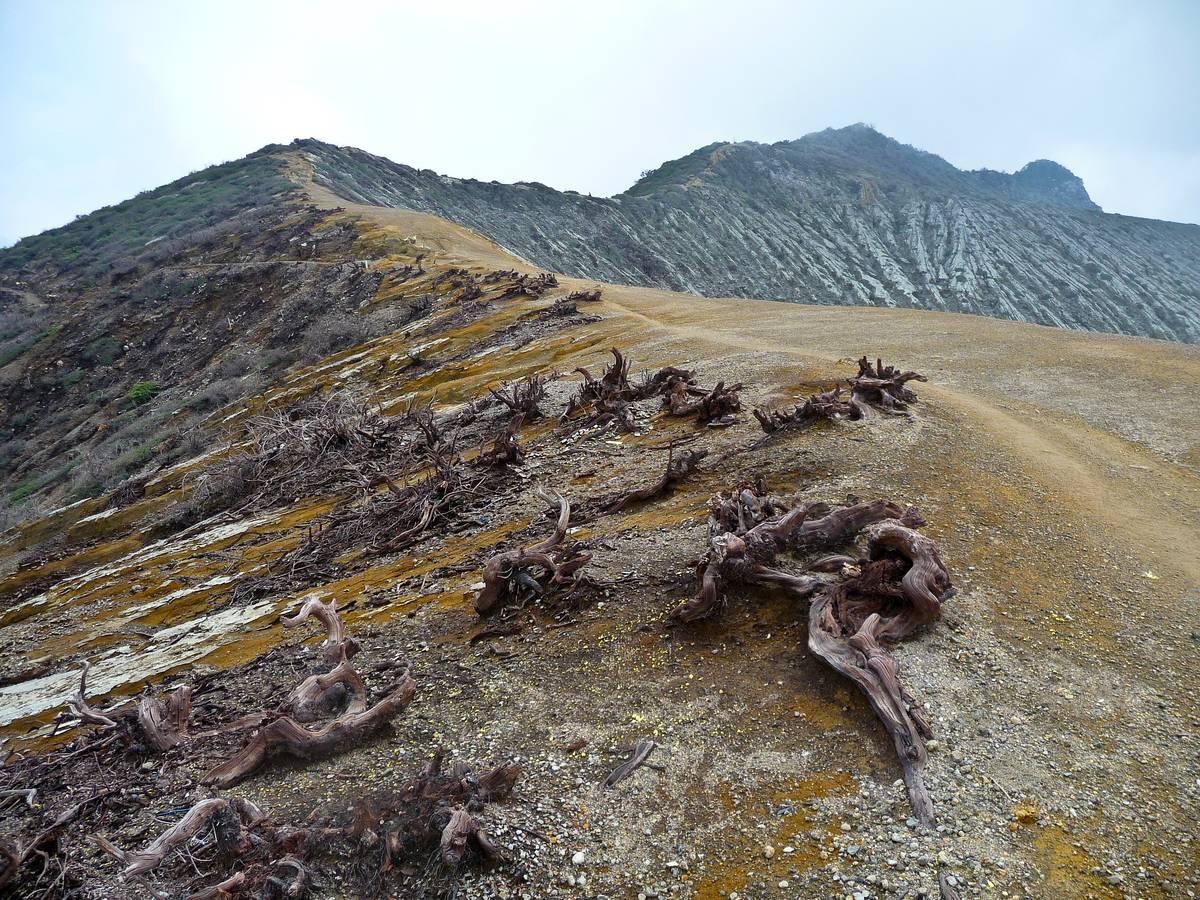 Безжизненная кромка кратера вулкана Иджен
